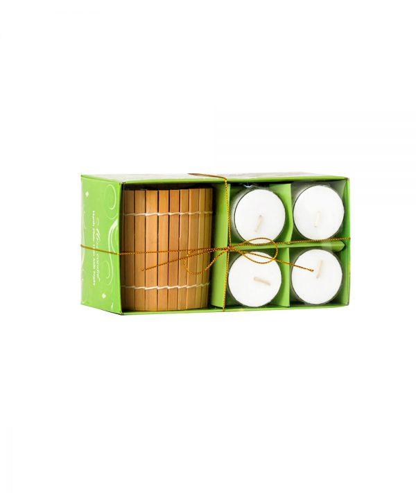 Hộp Nến ly Bamboo Tealight NQM2035 - Nến thơm Quang Minh CandleHộp Nến ly Bamboo Tealight NQM2035 - Nến thơm Quang Minh Candle