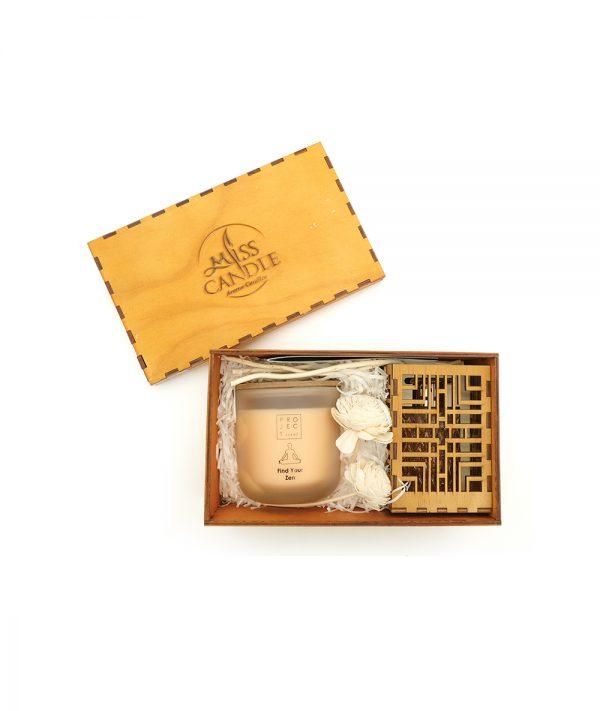 Hộp quà Hũ thủy tinh nắp gỗ D10H10JD2 - Quang Minh Candle